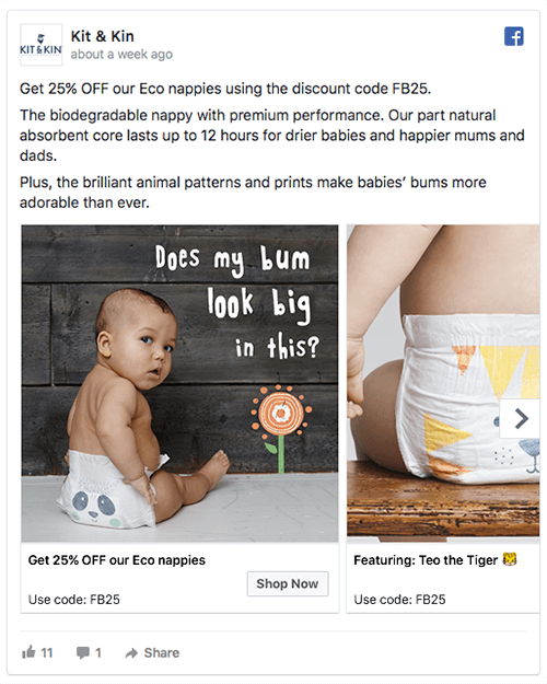 Product retargeting ad from eco brand Kit & Kin.