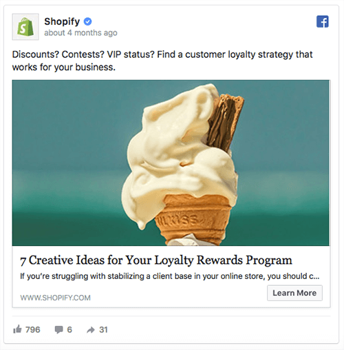 Blog post ad from ecommerce platform Shopify.
