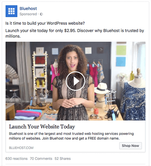 A cart abandonment ad from hosting company Bluehost.