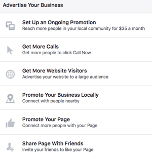 Using a Facebook Page gives you access to a variety of advertising options.