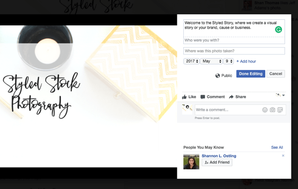 Thêm mô tả vào hình ảnh bạn sử dụng cho ảnh bìa trang kinh doanh Facebook của bạn.