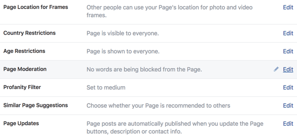 Use the General Settings area to manage control of your new Facebook business page.