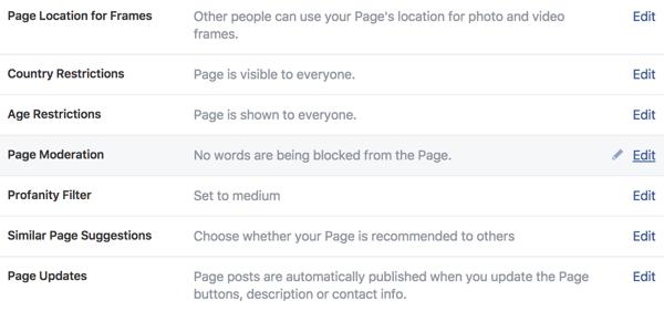Sử dụng khu vực Cài đặt chung để quản lý quyền kiểm soát trang kinh doanh Facebook mới của bạn.