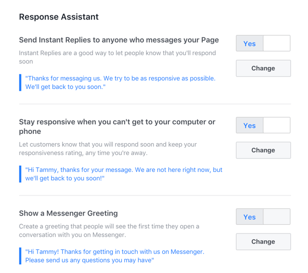 Configure any quto-responses you want to use for your Facebook business page.