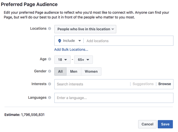 Define a Preferred Audience to help Facebook understand who you want to reach with your posts.