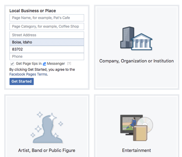 Consider the features each type and category offers for your Facebook page.