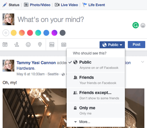 If you're blending your personal and business activities, adjusting post visibility a useful feature.