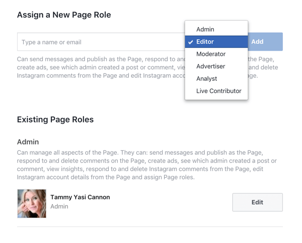 Give every member of your team only the access they need to manage their portion of your Facebook business page.