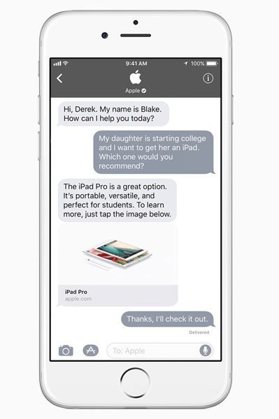 Apple introduced Business Chat, a powerful new way for businesses to connect with customers within iMessage.