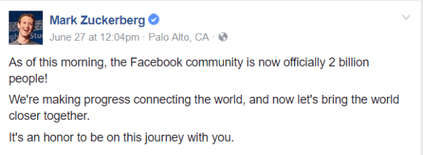 Facebook has surpassed a major milestone of 2 billion monthly active users.