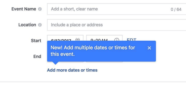 Facebook now allows organizers to add multiple times and dates to Facebook events.