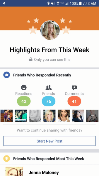 "Facebook shares user account ""Highlights"" for select personal profiles."
