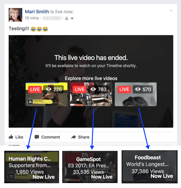 Facebook appears to be experimenting with a new feature that suggests related Live videos after a broadcast has ended.