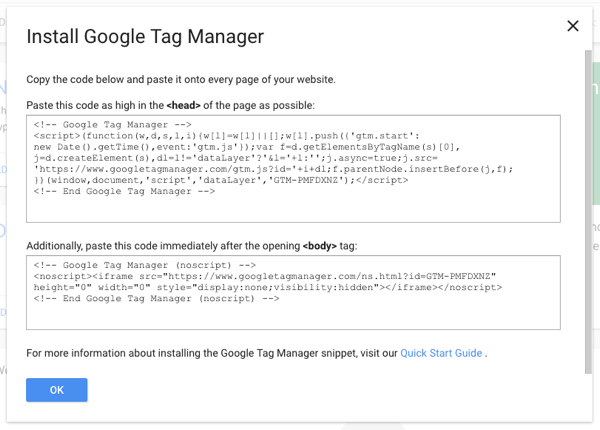 Copy one piece of Tag Manager script on your site and then you can add all other tags via Google Tag Manager.