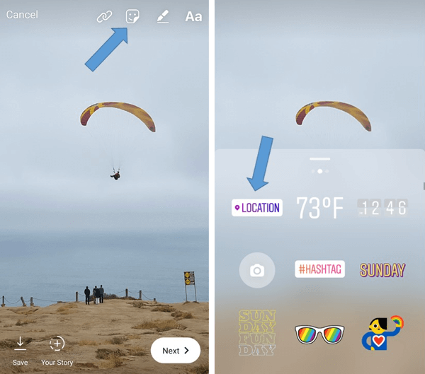 Instagram location stories and hashtag stories what marketers tap the sticker icon to open the sticker options and then choose the location option from the list of stickers ccuart Choice Image