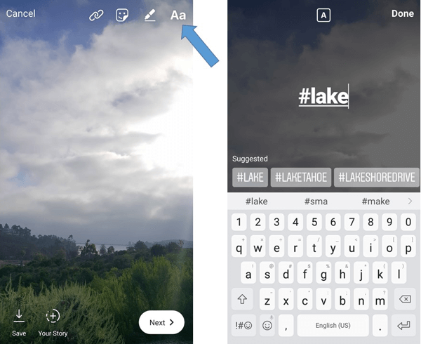 Use the text feature to manually add a hashtag to your Instagram story.