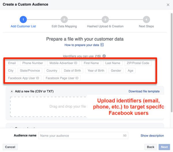 Create a custom audience on Facebook.