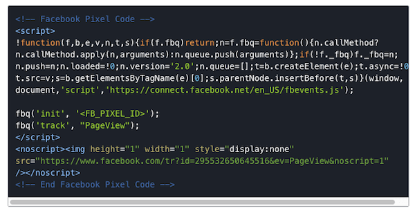 The Facebook initialization pixel must fire before any custom code.