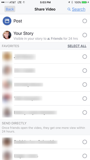 Once you've created your media, choose from any of three options to post: your wall, story, and/or specific friend(s).