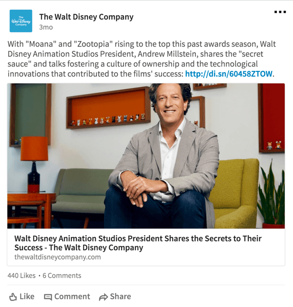 On LinkedIn, Disney shares content about their business, such as how movies perform at the box office.
