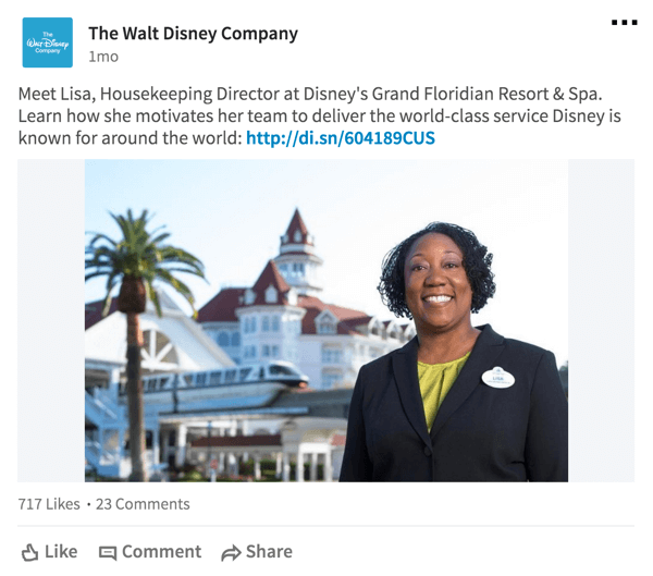 For the LinkedIn audience, Disney frequently shares information about employees.