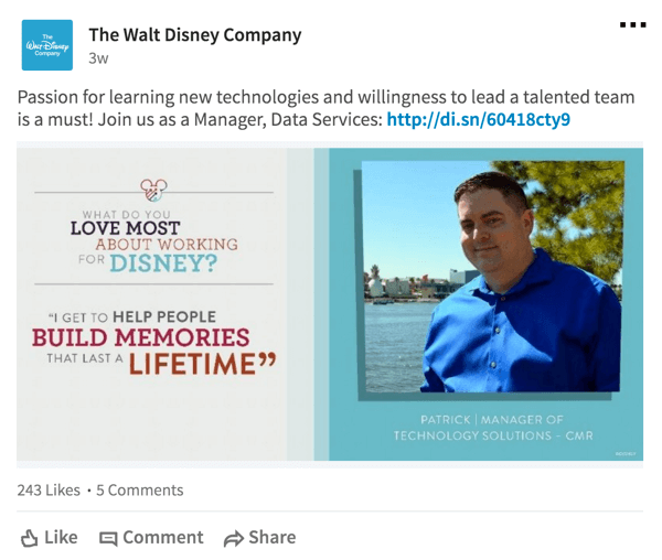Disney also shares quotes from employees on LinkedIn.