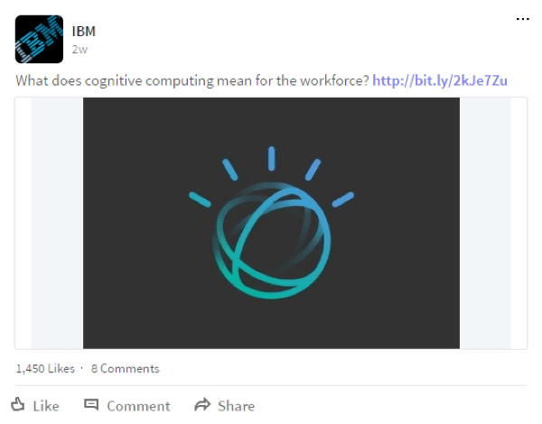 IBM regularly shares links to blog posts on LinkedIn.