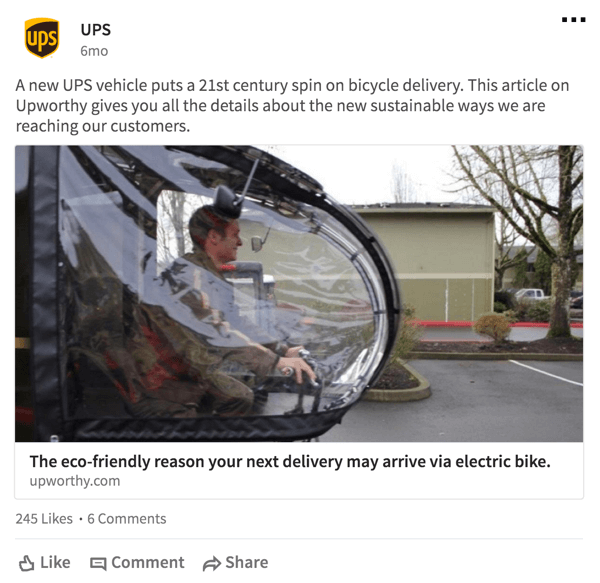 UPS likes to inform people about the social good they do.