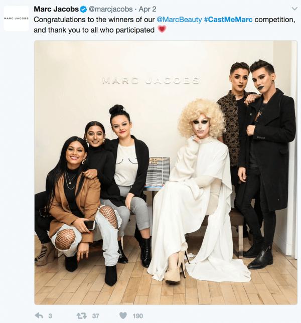 Marc Jacobs builds community through its #castmemarc campaign.