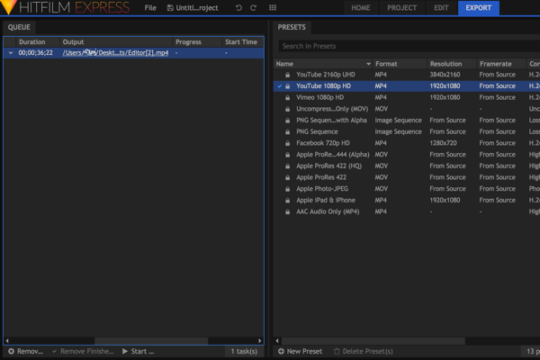 Your export queue appears on the left side of the Export tab.