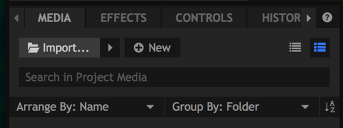 To add files to your project, click the Import button.