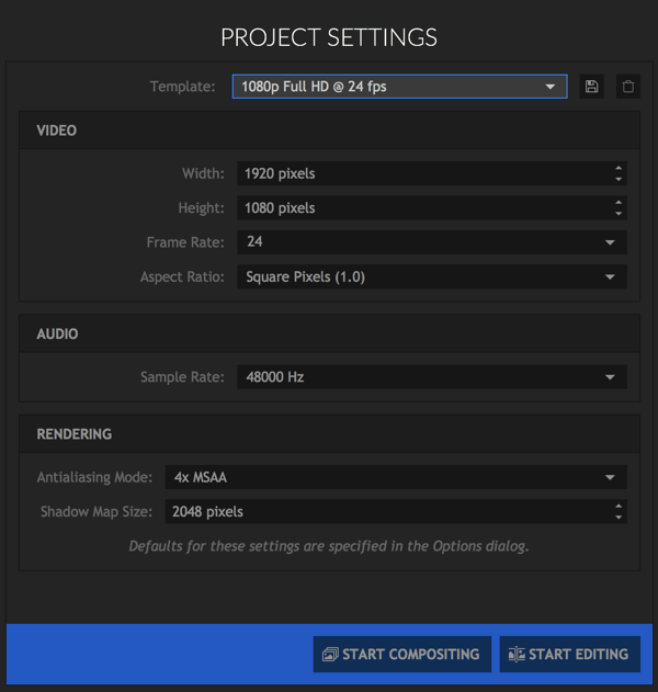 How to easily edit video a simple guide social media examiner select the settings you want to use for your hitfilm express project ccuart Images