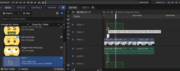 Drag and drop your composite shot onto your HitFilm Express timeline.