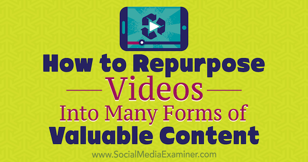 How to Repurpose Videos Into Many Forms of Valuable Content by Ann Smarty on Social Media Examiner.