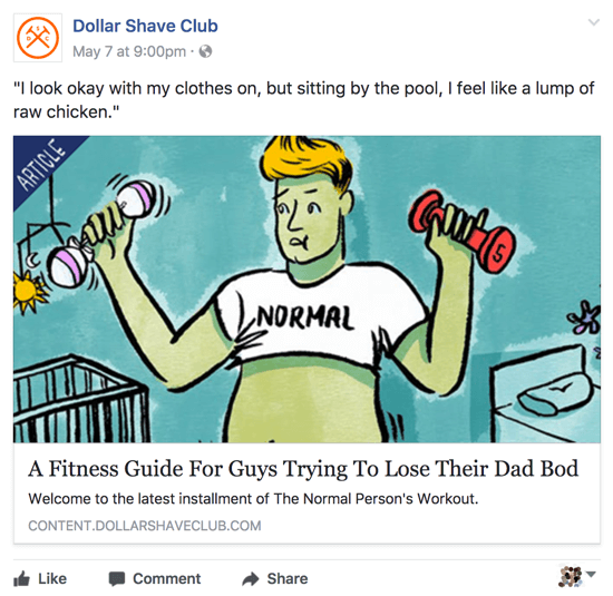 Dollar Shave Club shares relevant and clever content on its Facebook business page.