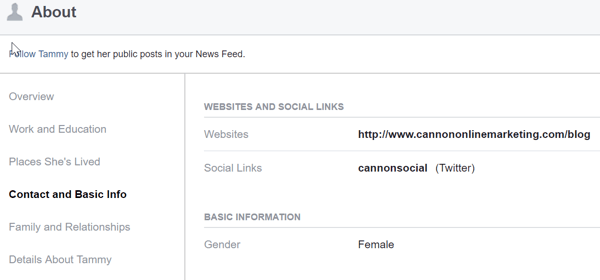 In the About section of your personal Facebook profile, share your business website and links to the social platforms where your business is active.