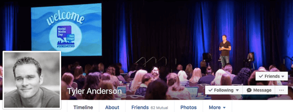 Use your profile Cover Image to indirectly reference your business.