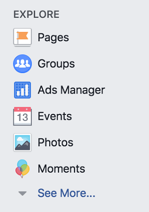 Access Facebook Groups from the Explore section of your Facebook personal profile.