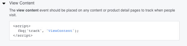 This is the basic View Content event code.