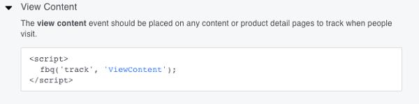 C'est le code d'événement de base View Content.
