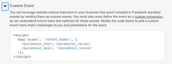 Facebook también te da la opción de crear eventos personalizados.