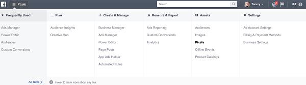 Dans Facebook Ads Manager, cliquez sur Pixels dans la colonne Assets.