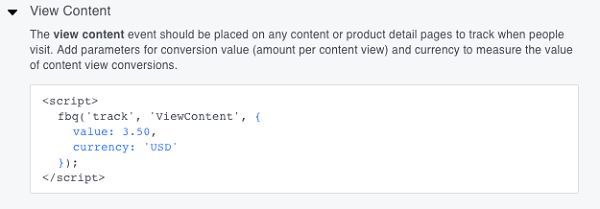 This is the recommended View Content event code.