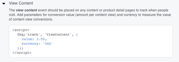 C'est le code d'événement View Content recommandé.