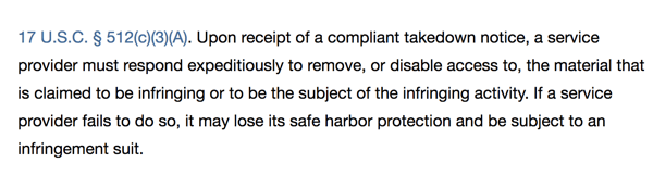 if hosting providers blatantly ignore valid takedown requests they may be subject to infringement suits