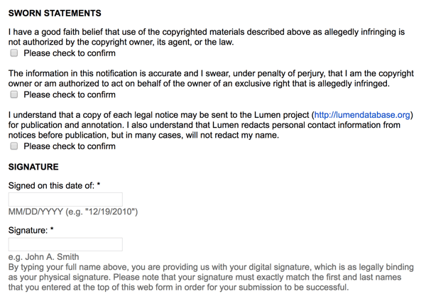 googles takedown notice is still a legal document with signatures and sworn statements of ownership