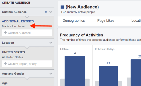 In Audience Insights, select the custom audience you want to analyze.