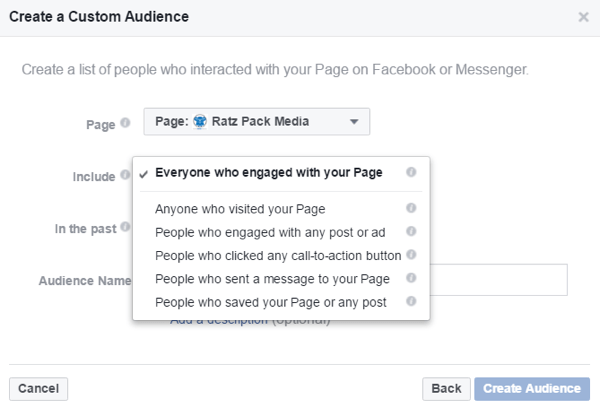 Create custom audiences based on people who interacted with your Facebook page.