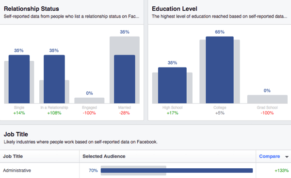 Audience Insights also gives you demographic data about relationship status, education, and job title.