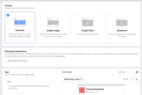 In the third stage of creating an ad in Ads Manager, you select the images or video, add text, a call-to-action button, and more.